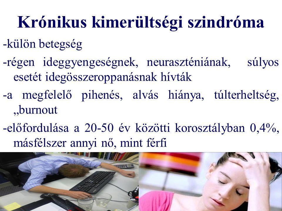 """Krónikus kimerültségi szindróma -külön betegség -régen ideggyengeségnek, neuraszténiának, súlyos esetét idegösszeroppanásnak hívták -a megfelelő pihenés, alvás hiánya, túlterheltség, """"burnout -előfordulása a 20-50 év közötti korosztályban 0,4%, másfélszer annyi nő, mint férfi"""