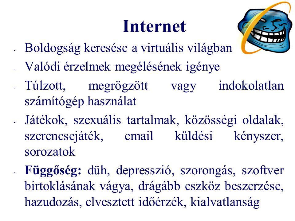 Internet - Boldogság keresése a virtuális világban - Valódi érzelmek megélésének igénye - Túlzott, megrögzött vagy indokolatlan számítógép használat - Játékok, szexuális tartalmak, közösségi oldalak, szerencsejáték, email küldési kényszer, sorozatok - Függőség: düh, depresszió, szorongás, szoftver birtoklásának vágya, drágább eszköz beszerzése, hazudozás, elvesztett időérzék, kialvatlanság