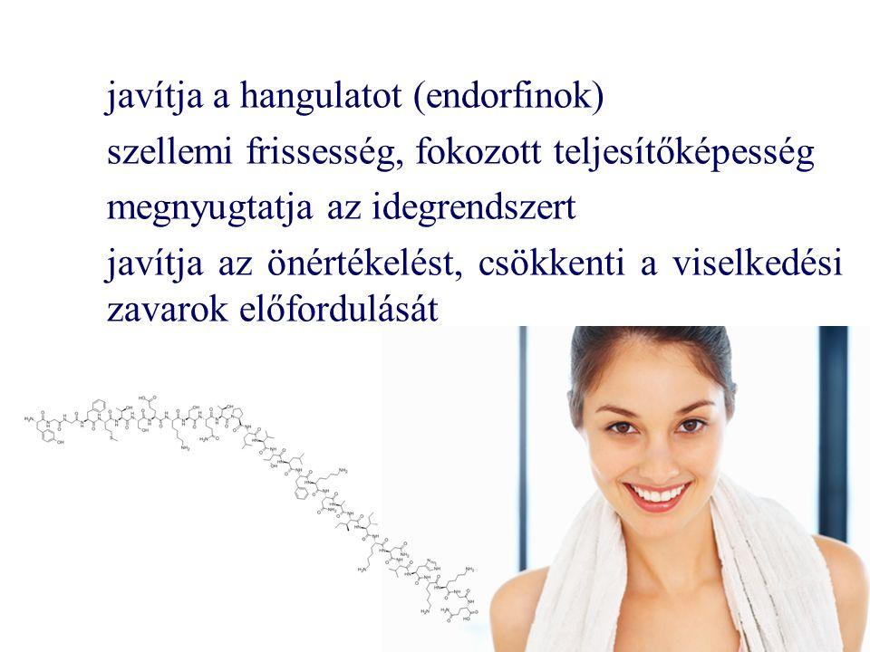 javítja a hangulatot (endorfinok) szellemi frissesség, fokozott teljesítőképesség megnyugtatja az idegrendszert javítja az önértékelést, csökkenti a viselkedési zavarok előfordulását