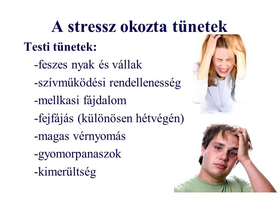 A stressz okozta tünetek Testi tünetek: -feszes nyak és vállak -szívműködési rendellenesség -mellkasi fájdalom -fejfájás (különösen hétvégén) -magas vérnyomás -gyomorpanaszok -kimerültség