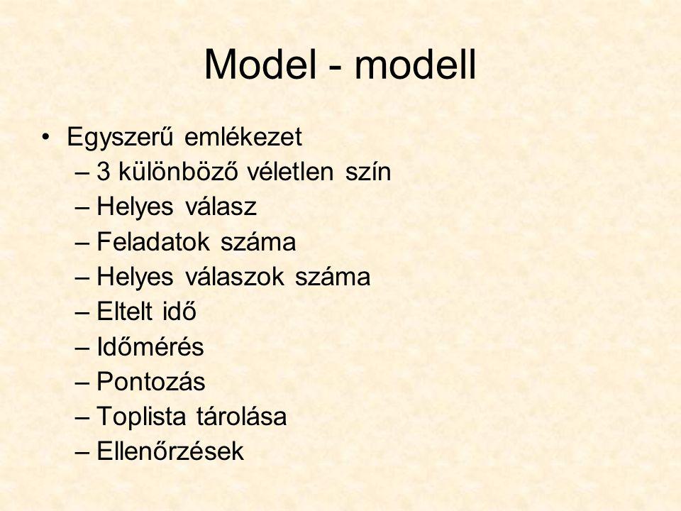 Model - modell Egyszerű emlékezet –3 különböző véletlen szín –Helyes válasz –Feladatok száma –Helyes válaszok száma –Eltelt idő –Időmérés –Pontozás –Toplista tárolása –Ellenőrzések