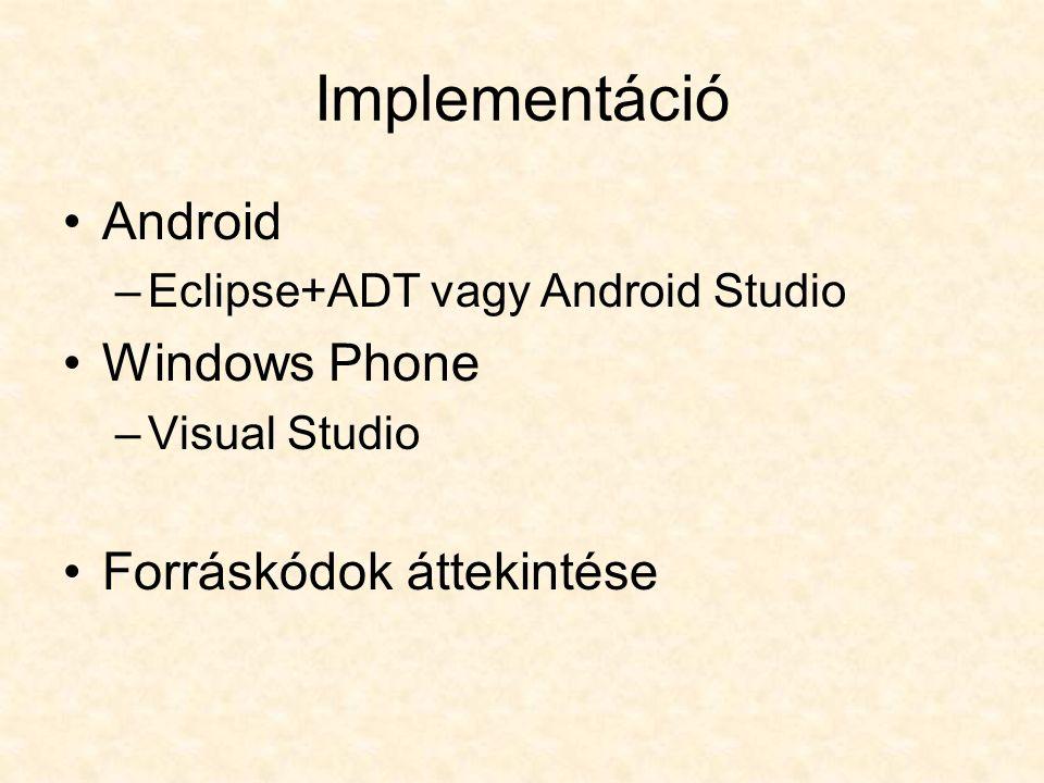 Egyszerű játékprogram szimultán fejlesztése – az Android és Windows Phone platform hasonlóságai és különbségei Kaczur Sándor, Friedel Attila kaczur@gdf.hukaczur@gdf.hu, friedel@gdf.hufriedel@gdf.hu Kutatók éjszakája a GDF-en