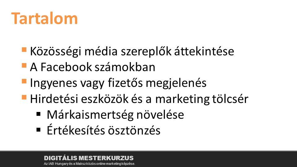  Közösségi média szereplők áttekintése  A Facebook számokban  Ingyenes vagy fizetős megjelenés  Hirdetési eszközök és a marketing tölcsér  Márkaismertség növelése  Értékesítés ösztönzés Tartalom DIGITÁLIS MESTERKURZUS Az IAB Hungary és a Maksz közös online marketing képzése.