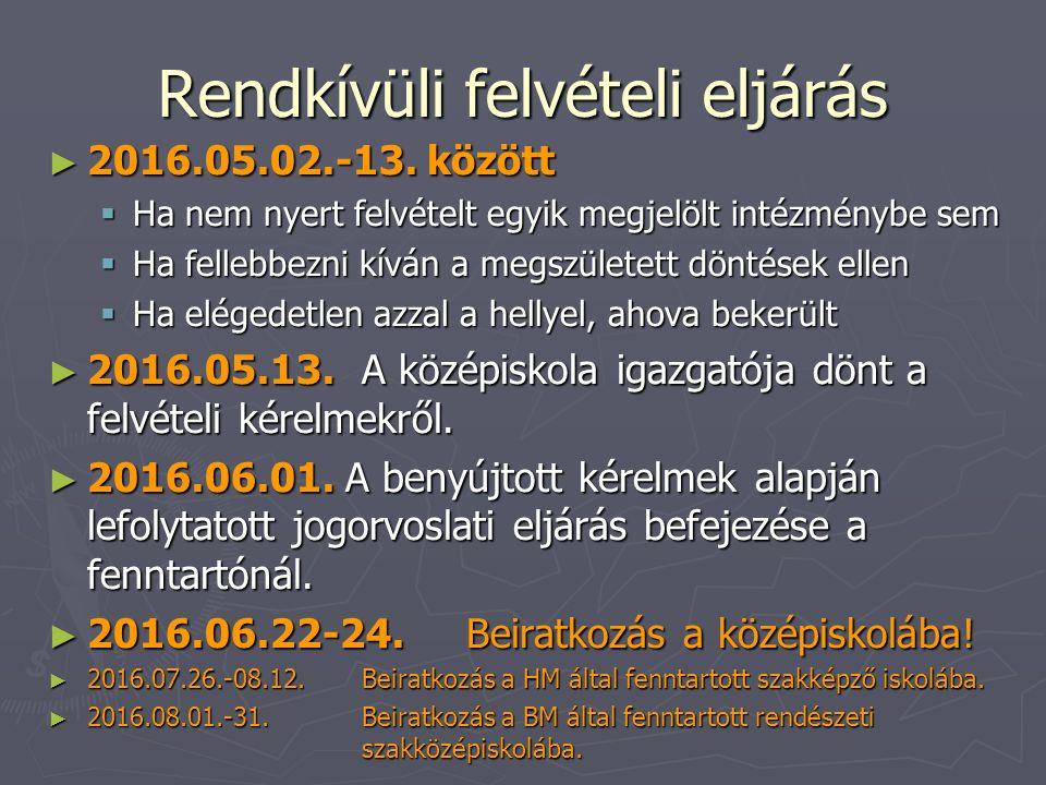 Rendkívüli felvételi eljárás ► 2016.05.02.-13. között  Ha nem nyert felvételt egyik megjelölt intézménybe sem  Ha fellebbezni kíván a megszületett d