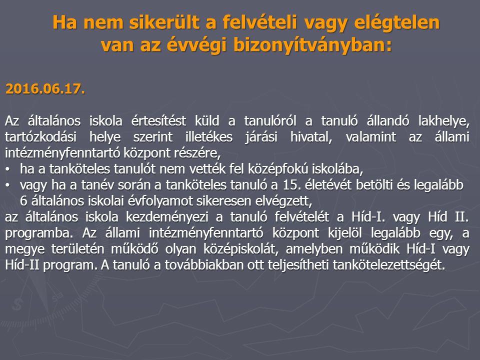 2016.06.17. Az általános iskola értesítést küld a tanulóról a tanuló állandó lakhelye, tartózkodási helye szerint illetékes járási hivatal, valamint a
