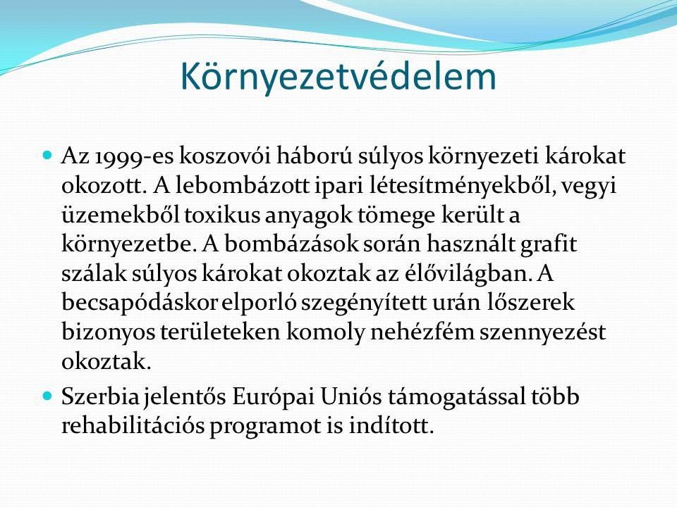 Környezetvédelem Az 1999-es koszovói háború súlyos környezeti károkat okozott. A lebombázott ipari létesítményekből, vegyi üzemekből toxikus anyagok t