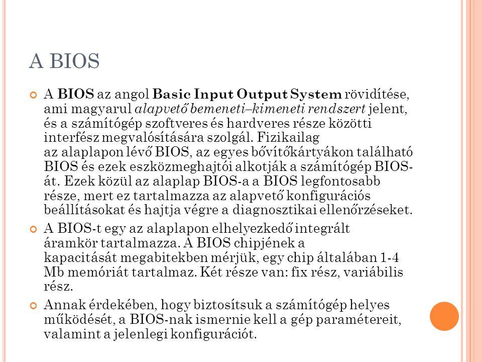 A BIOS A BIOS az angol Basic Input Output System rövidítése, ami magyarul alapvető bemeneti–kimeneti rendszert jelent, és a számítógép szoftveres és h