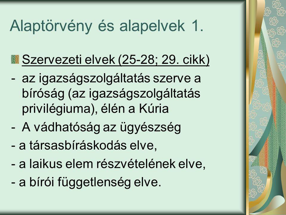 Alaptörvény és alapelvek 1. Szervezeti elvek (25-28; 29.