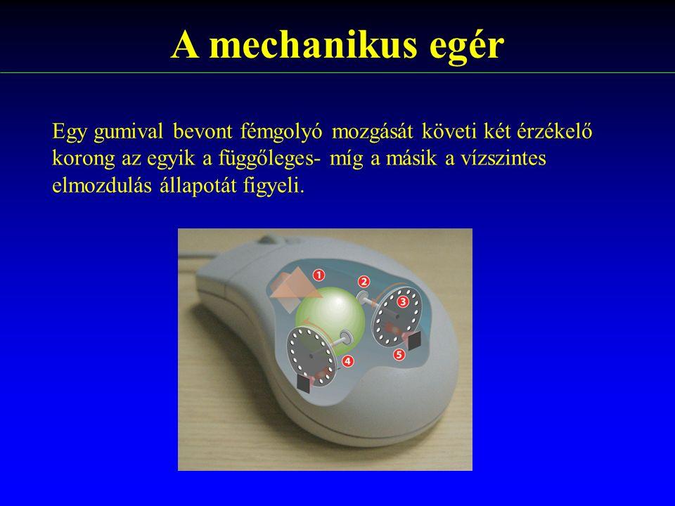 A mechanikus egér Egy gumival bevont fémgolyó mozgását követi két érzékelő korong az egyik a függőleges- míg a másik a vízszintes elmozdulás állapotát