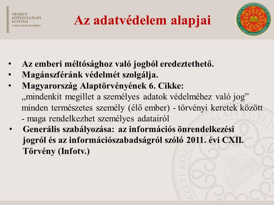 Az adatvédelem alapjai Generális szabályozása: az információs önrendelkezési jogról és az információszabadságról szóló 2011.
