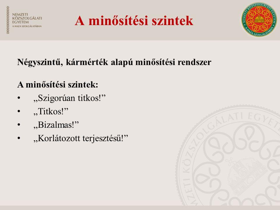 Minősített adat fajtái Nemzeti minősített adat: a minősítést a nemzeti szuverenitás, Magyarország biztonsága és az állami szervek zavartalan működésén