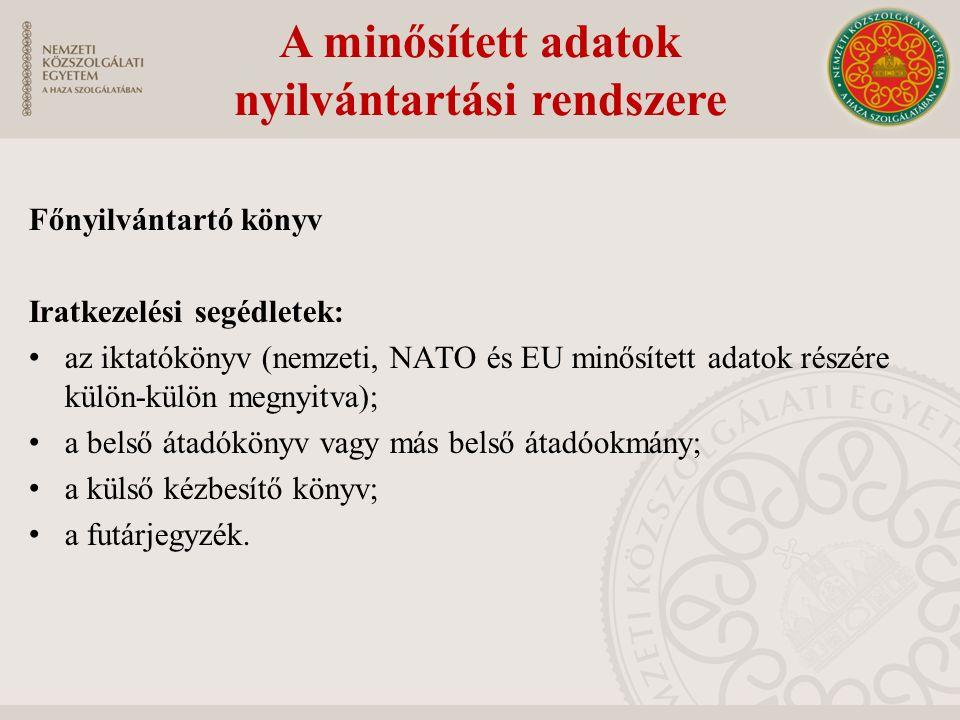 A Központi Nyilvántartók NATO-NYEU Központi Nyilvántartó a Magyar Honvédség működteti, a NATO minősített adatok országos szinten történő fogadása, elo