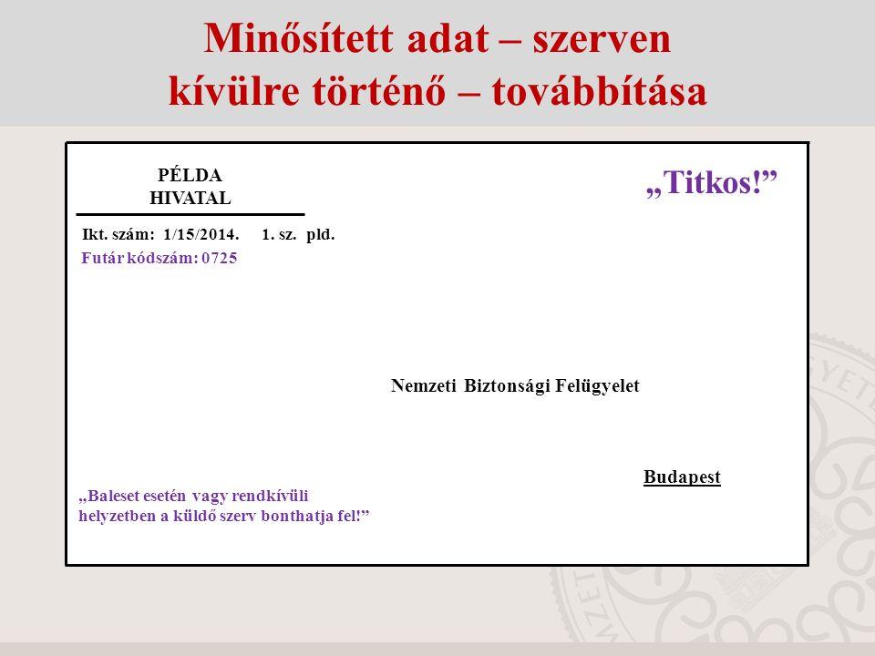 Feladó: Minta Hivatal Listaszám: 282 Oldalszám: 1/1 2. sz. pld. F U T Á R J E G Y Z É K Címzett: Állami Futárszolgálat Központi Levélrendező Alosztály