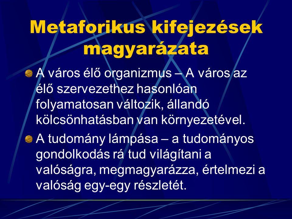 Metaforikus kifejezések magyarázata A város élő organizmus – A város az élő szervezethez hasonlóan folyamatosan változik, állandó kölcsönhatásban van környezetével.
