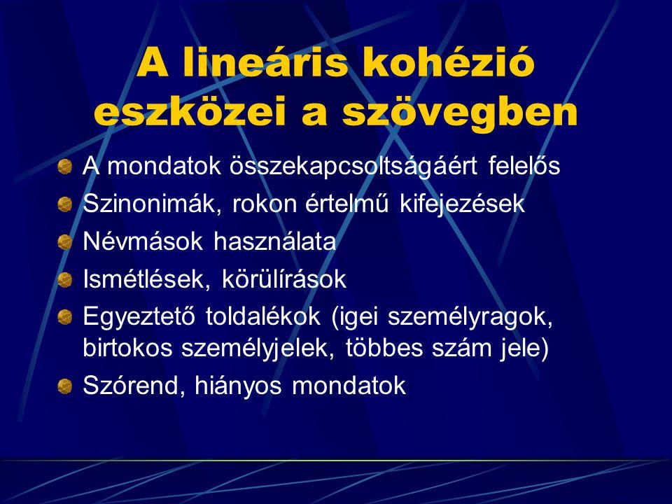 A lineáris kohézió eszközei a szövegben A mondatok összekapcsoltságáért felelős Szinonimák, rokon értelmű kifejezések Névmások használata Ismétlések, körülírások Egyeztető toldalékok (igei személyragok, birtokos személyjelek, többes szám jele) Szórend, hiányos mondatok