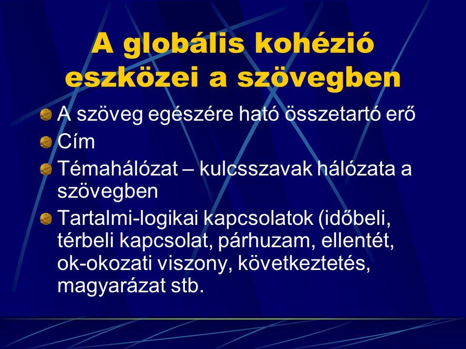 A globális kohézió eszközei a szövegben A szöveg egészére ható összetartó erő Cím Témahálózat – kulcsszavak hálózata a szövegben Tartalmi-logikai kapcsolatok (időbeli, térbeli kapcsolat, párhuzam, ellentét, ok-okozati viszony, következtetés, magyarázat stb.