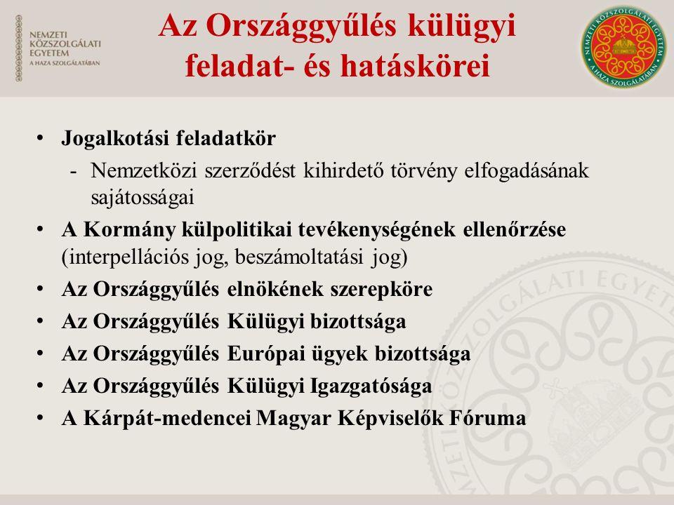 A köztársasági elnök külügyi feladat- és hatáskörei Képviseli Magyarországot Elismeri a nemzetközi szerződés kötelező hatályát Aktív és passzív követküldési jogot gyakorol -Magyar nagykövetek és követek megbízása -Más államok nagykövetei és követei megbízólevelének átvétele Állampolgársági ügyek