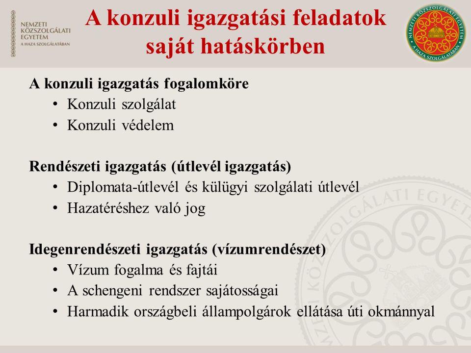 A konzuli igazgatási feladatok saját hatáskörben Anyakönyvi igazgatással összefüggő feladatok -Születés, házasságkötés, halál Külföldön tartózkodó magyar hajókkal és repülőgépekkel kapcsolatos feladatok Hatósági jogkör gyakorlása Okirat-kiállítás és tanúsítványkészítés, közjegyzői minőségben történő eljárás -Mi a különbség az okirat és a tanúsítvány között.