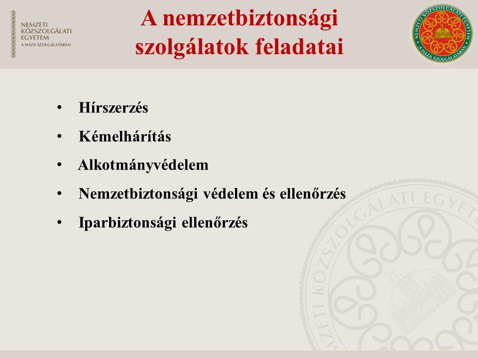 A nemzetbiztonsági szolgálatok irányítása és vezetése Irányítás - Kormány belügyminiszter honvédelmi miniszter miniszterelnökséget vezető miniszter Vezetés-főigazgatók
