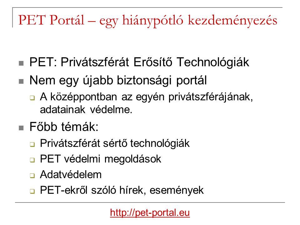 PET Portál – egy hiánypótló kezdeményezés PET: Privátszférát Erősítő Technológiák Nem egy újabb biztonsági portál  A középpontban az egyén privátszférájának, adatainak védelme.