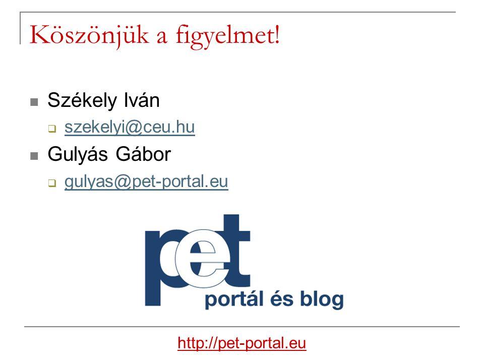Köszönjük a figyelmet! Székely Iván  szekelyi@ceu.hu szekelyi@ceu.hu Gulyás Gábor  gulyas@pet-portal.eu gulyas@pet-portal.eu http://pet-portal.eu