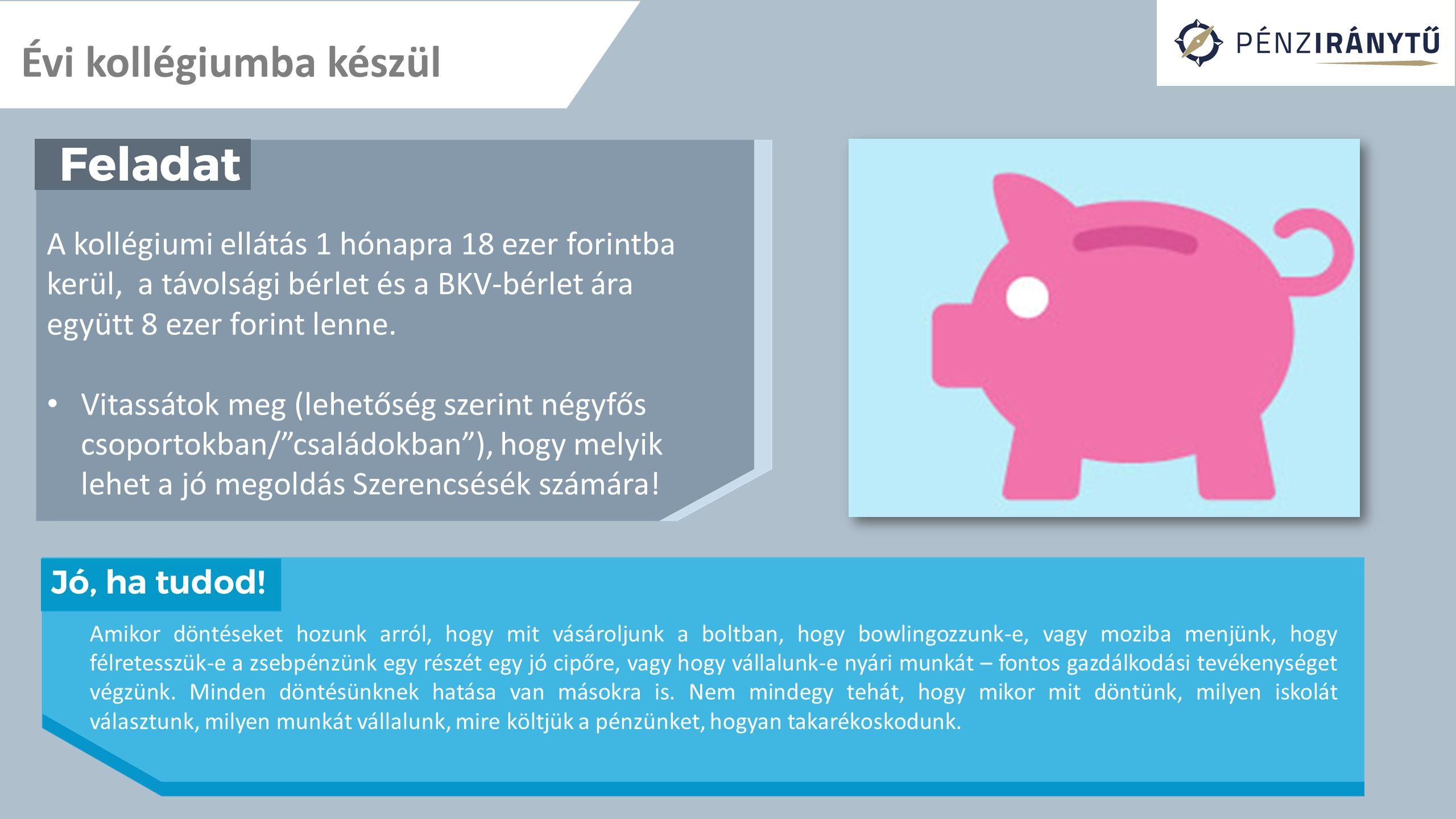 Évi kollégiumba készül A kollégiumi ellátás 1 hónapra 18 ezer forintba kerül, a távolsági bérlet és a BKV-bérlet ára együtt 8 ezer forint lenne. Vitas