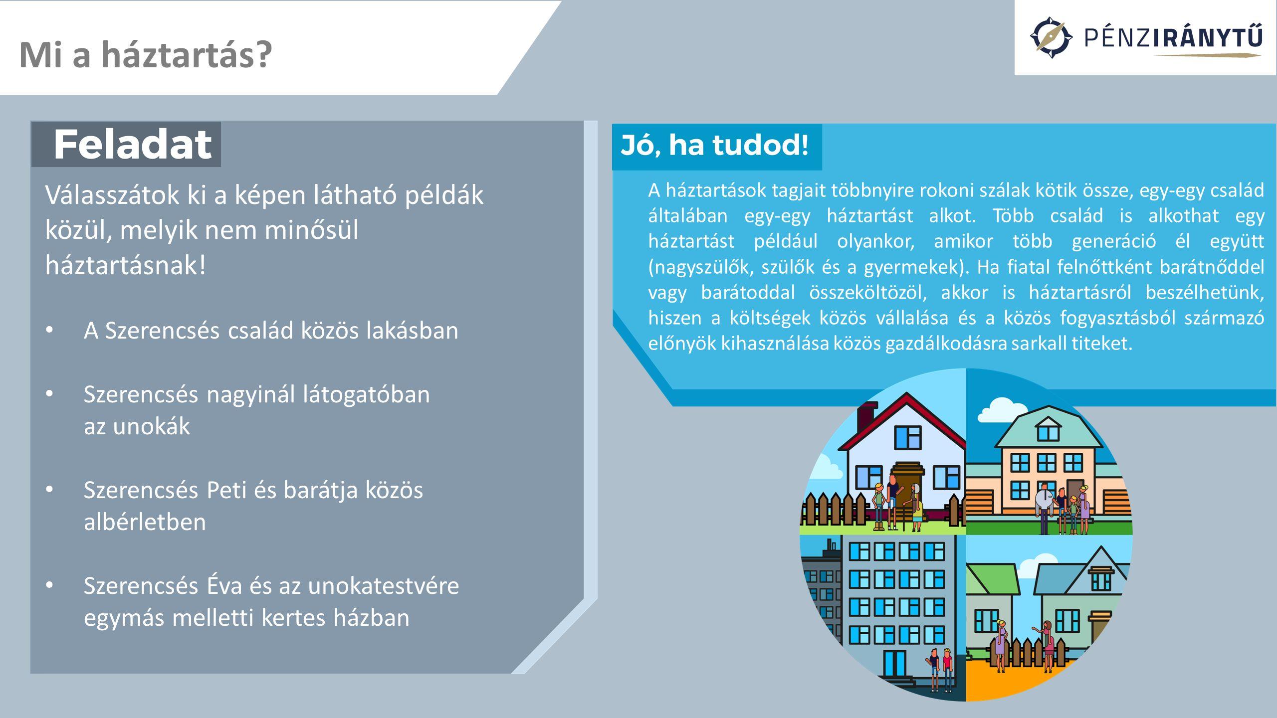 Mi a háztartás? Válasszátok ki a képen látható példák közül, melyik nem minősül háztartásnak! A Szerencsés család közös lakásban Szerencsés nagyinál l