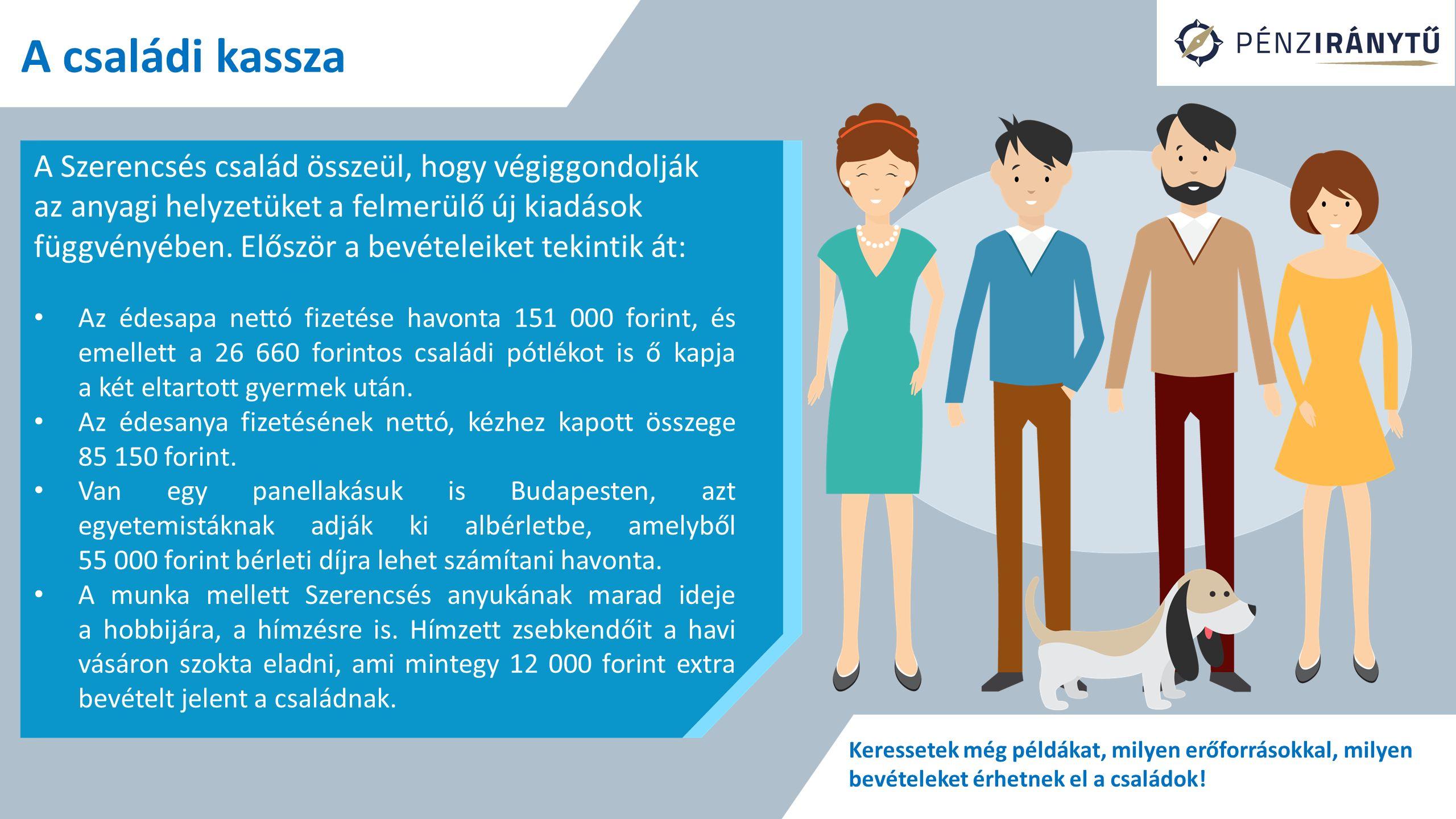 A családi kassza A háztartások jövedelme: munkából származó bevételek vagyonból származó jövedelem társadalmi juttatások (transzferek) egyéb jövedelmek Összegezzétek, mekkora a Szerencsés család összes havi jövedelme.