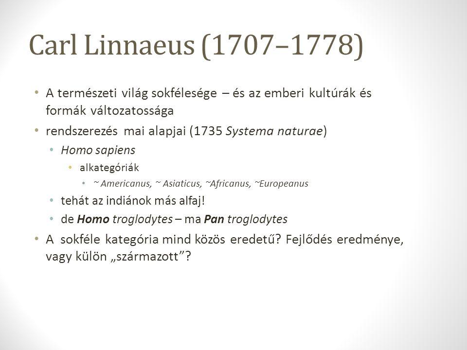 Carl Linnaeus (1707–1778) A természeti világ sokfélesége – és az emberi kultúrák és formák változatossága rendszerezés mai alapjai (1735 Systema natur