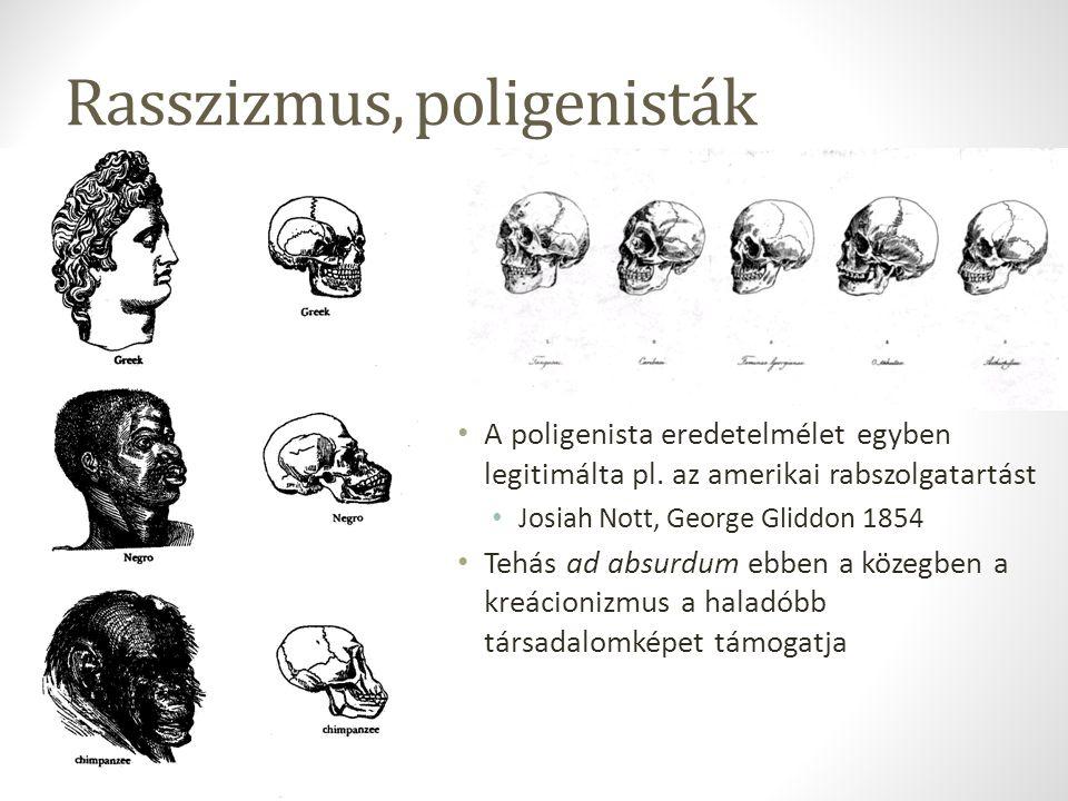 Rasszizmus, poligenisták A poligenista eredetelmélet egyben legitimálta pl. az amerikai rabszolgatartást Josiah Nott, George Gliddon 1854 Tehás ad abs
