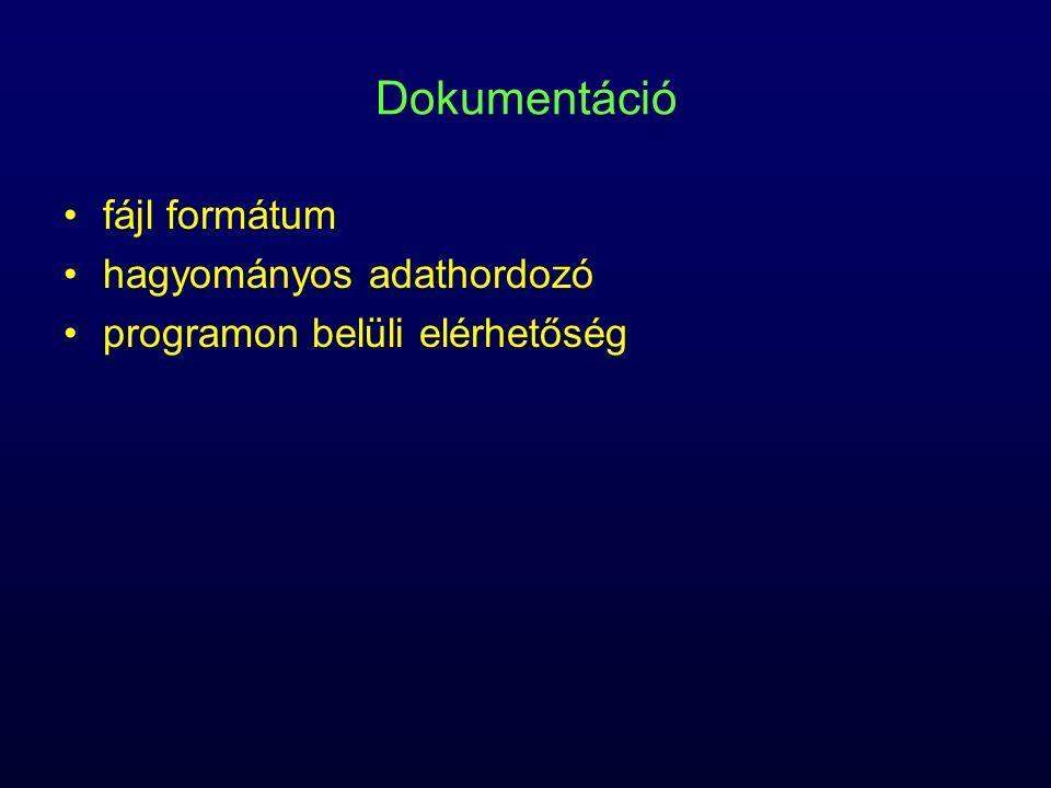 Dokumentáció fájl formátum hagyományos adathordozó programon belüli elérhetőség
