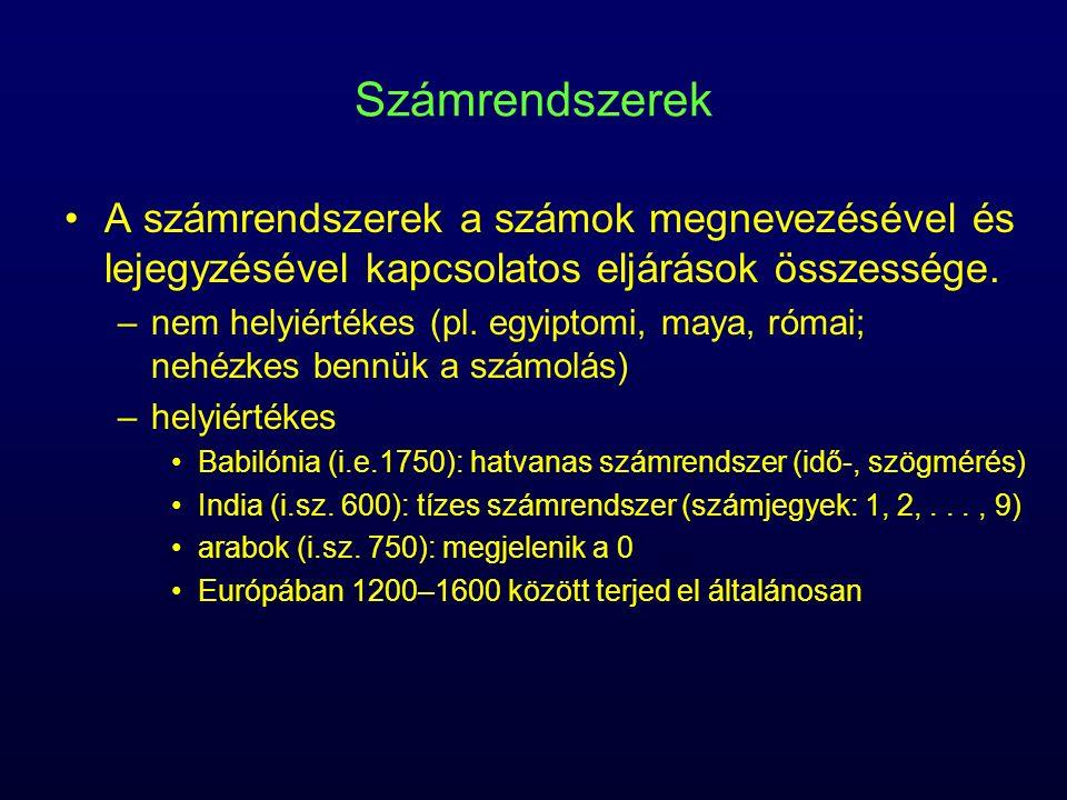 A számrendszerek a számok megnevezésével és lejegyzésével kapcsolatos eljárások összessége. –nem helyiértékes (pl. egyiptomi, maya, római; nehézkes be