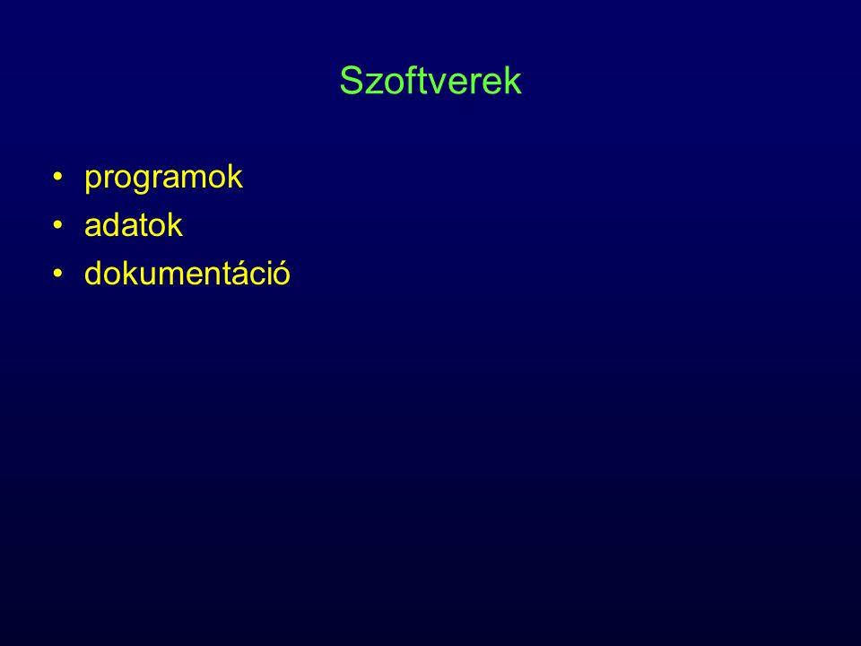 Szoftverek programok adatok dokumentáció