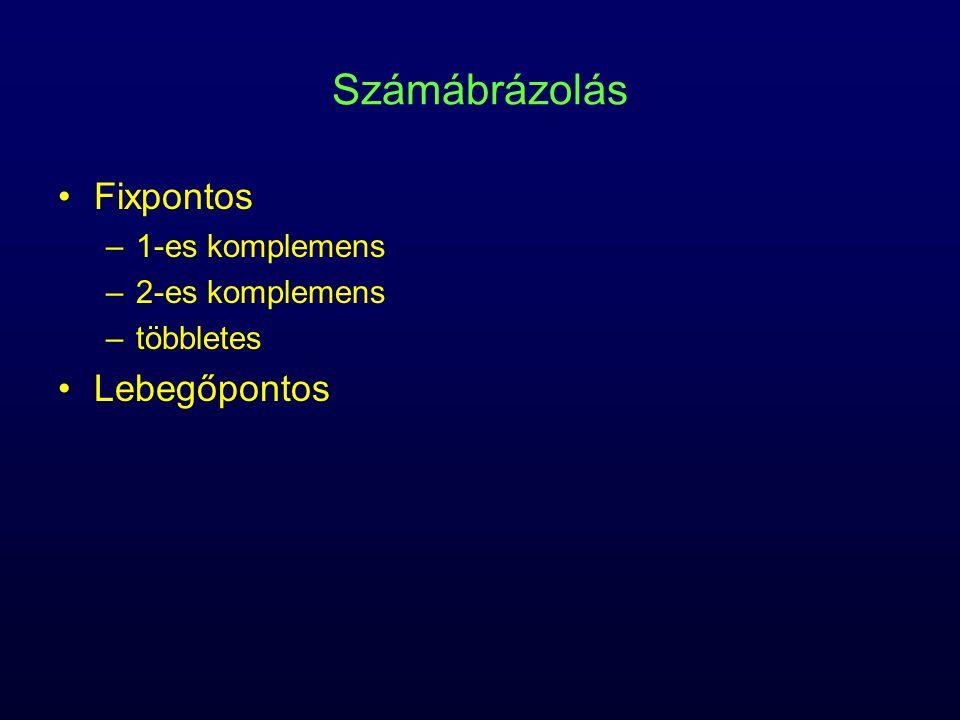 Számábrázolás Fixpontos –1-es komplemens –2-es komplemens –többletes Lebegőpontos