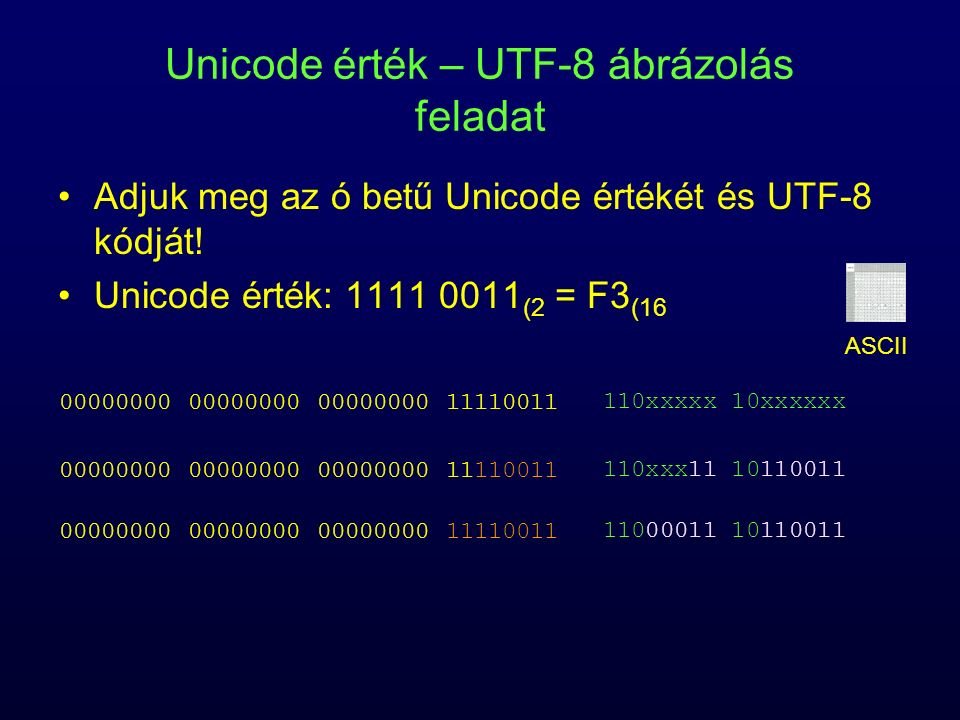 Unicode érték – UTF-8 ábrázolás feladat Adjuk meg az ó betű Unicode értékét és UTF-8 kódját! Unicode érték: 1111 0011 (2 = F3 (16 00000000 00000000 00