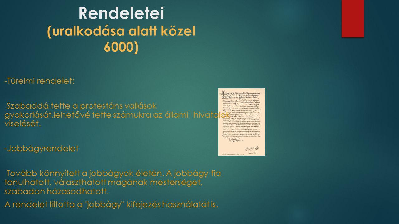 A birodalmi egység érdekében.....bevezeti a német nyelvet hivatalos nyelvvé.
