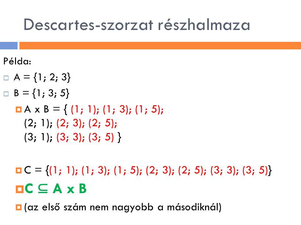 Descartes-szorzat részhalmaza Példa:  A = {1; 2; 3}  B = {1; 3; 5}  A x B = { (1; 1); (1; 3); (1; 5); (2; 1); (2; 3); (2; 5); (3; 1); (3; 3); (3; 5