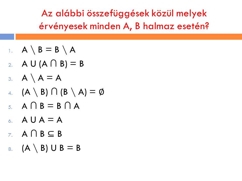 Az alábbi összefüggések közül melyek érvényesek minden A, B halmaz esetén? 1. A \ B = B \ A 2. A U (A ∩ B) = B 3. A \ A = A 4. (A \ B) ∩ (B \ A) = ∅ 5