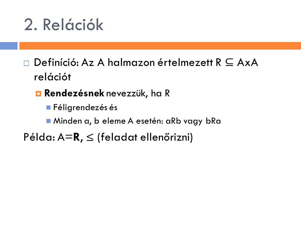 2. Relációk  Definíció: Az A halmazon értelmezett R ⊆ AxA relációt  Rendezésnek nevezzük, ha R Féligrendezés és Minden a, b eleme A esetén: aRb vagy