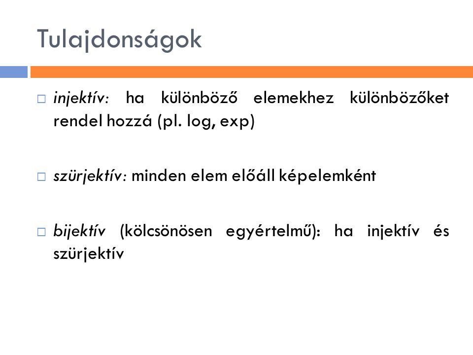 Tulajdonságok  injektív: ha különböző elemekhez különbözőket rendel hozzá (pl. log, exp)  szürjektív: minden elem előáll képelemként  bijektív (köl