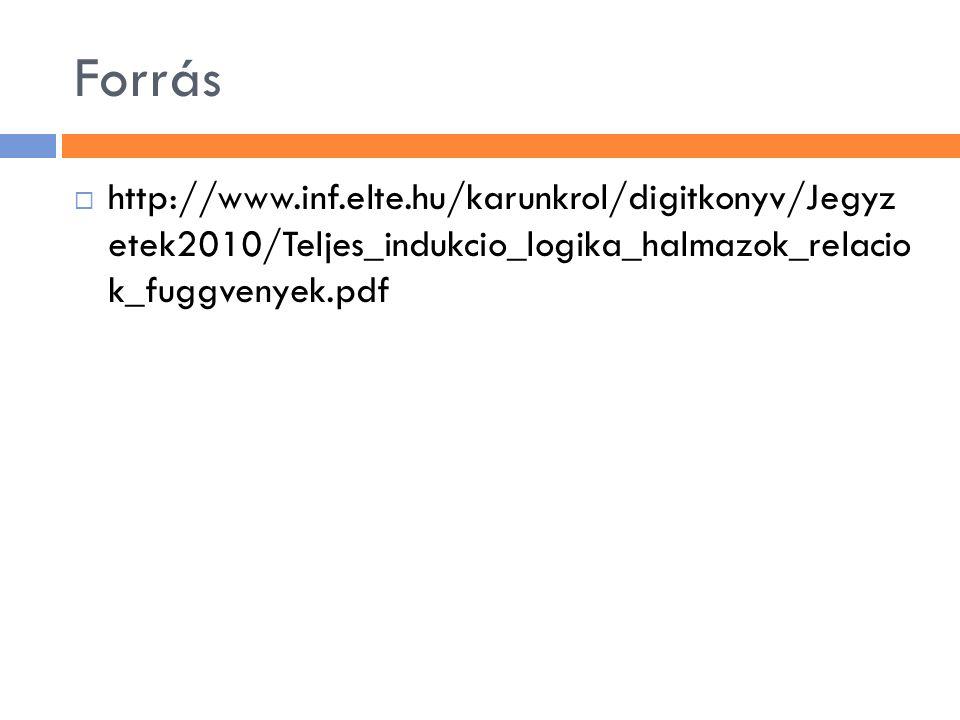 Forrás  http://www.inf.elte.hu/karunkrol/digitkonyv/Jegyz etek2010/Teljes_indukcio_logika_halmazok_relacio k_fuggvenyek.pdf