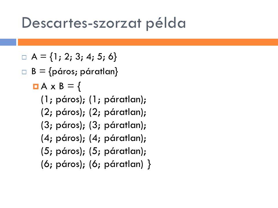 Descartes-szorzat példa  A = {1; 2; 3; 4; 5; 6}  B = {páros; páratlan}  A x B = { (1; páros); (1; páratlan); (2; páros); (2; páratlan); (3; páros);