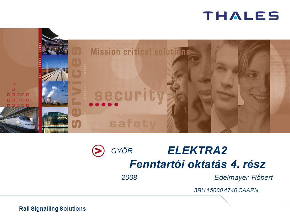 1 Rail Signalling Solutions Thales Rail Signalling Solutions Austria 1.Külsőtér 2.Kábelezés 3.Interfész-hardver 4.Egységek 5.Dominó-állványok 6.Számítógép-hardver 7.RIC 8.Az ELEKTRA felépítése 9.Kezelőszervek 10.Számítógépek feladatai 11.Kommunikáció 12.Rendszerfelépítés 13.Parancskiadás, visszajelentés 14.Rajztechnika 15.Váltóáramkör, váltóállítás 16.Fényáramkör, jelzőállítás 17.Vizsgálatok és tesztek 18.Tervezés, gyártás 19.Építés, vizsgálatok 20.Oktatási anyag részei