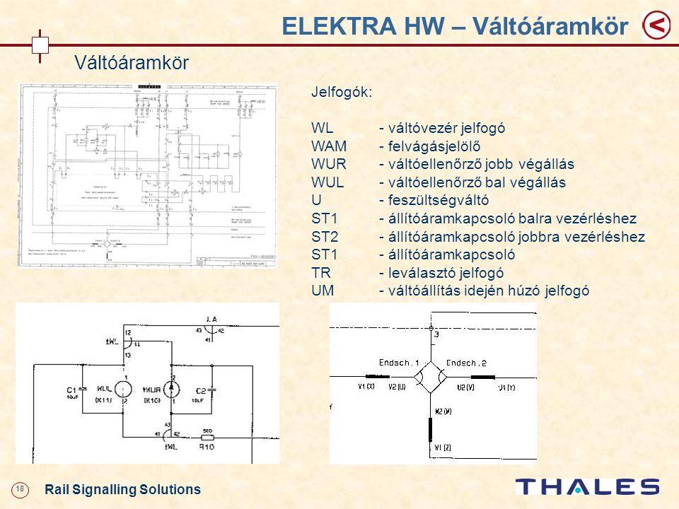 18 Rail Signalling Solutions ELEKTRA HW – Váltóáramkör Váltóáramkör Jelfogók: WL- váltóvezér jelfogó WAM- felvágásjelölő WUR- váltóellenőrző jobb végá