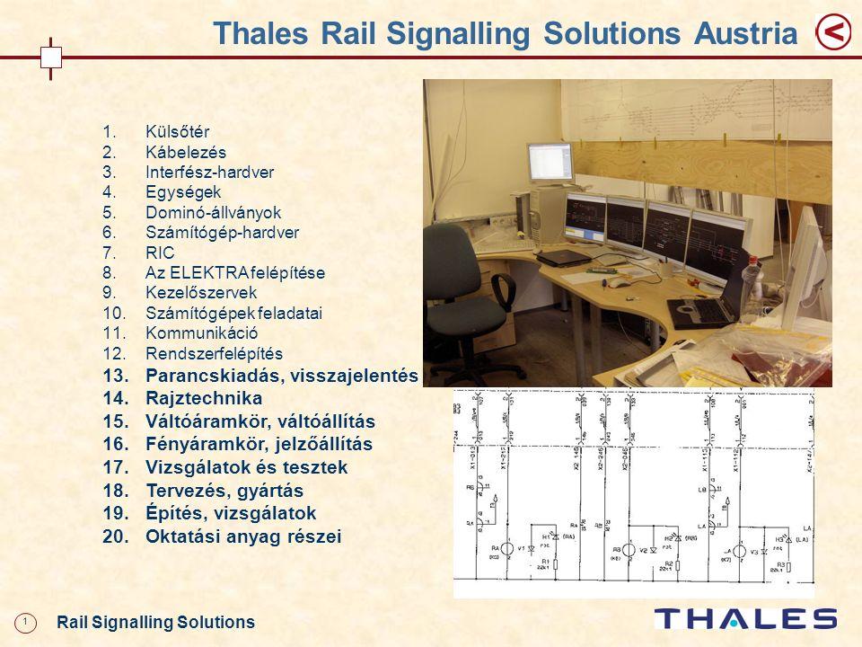 1 Rail Signalling Solutions Thales Rail Signalling Solutions Austria 1.Külsőtér 2.Kábelezés 3.Interfész-hardver 4.Egységek 5.Dominó-állványok 6.Számít