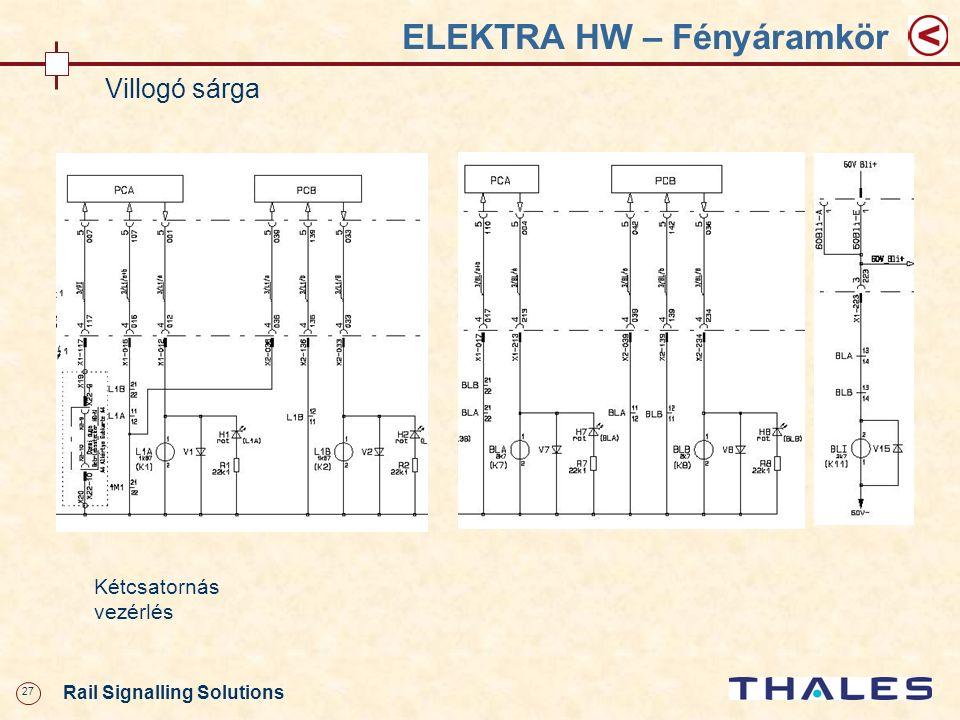27 Rail Signalling Solutions ELEKTRA HW – Fényáramkör Villogó sárga Kétcsatornás vezérlés