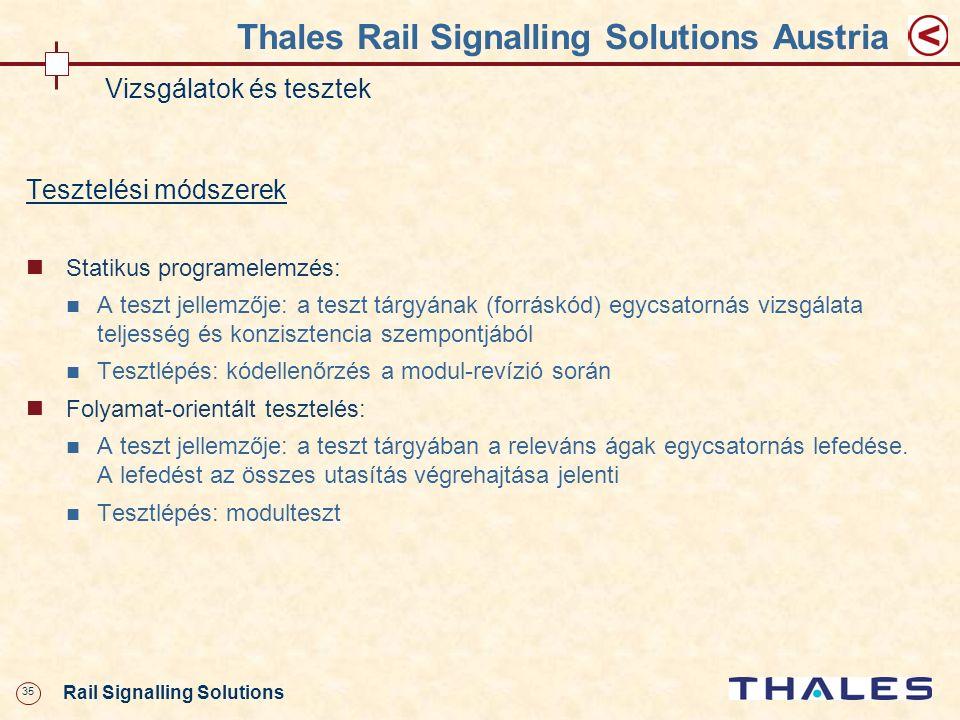 35 Rail Signalling Solutions Thales Rail Signalling Solutions Austria Vizsgálatok és tesztek Tesztelési módszerek Statikus programelemzés: A teszt jel