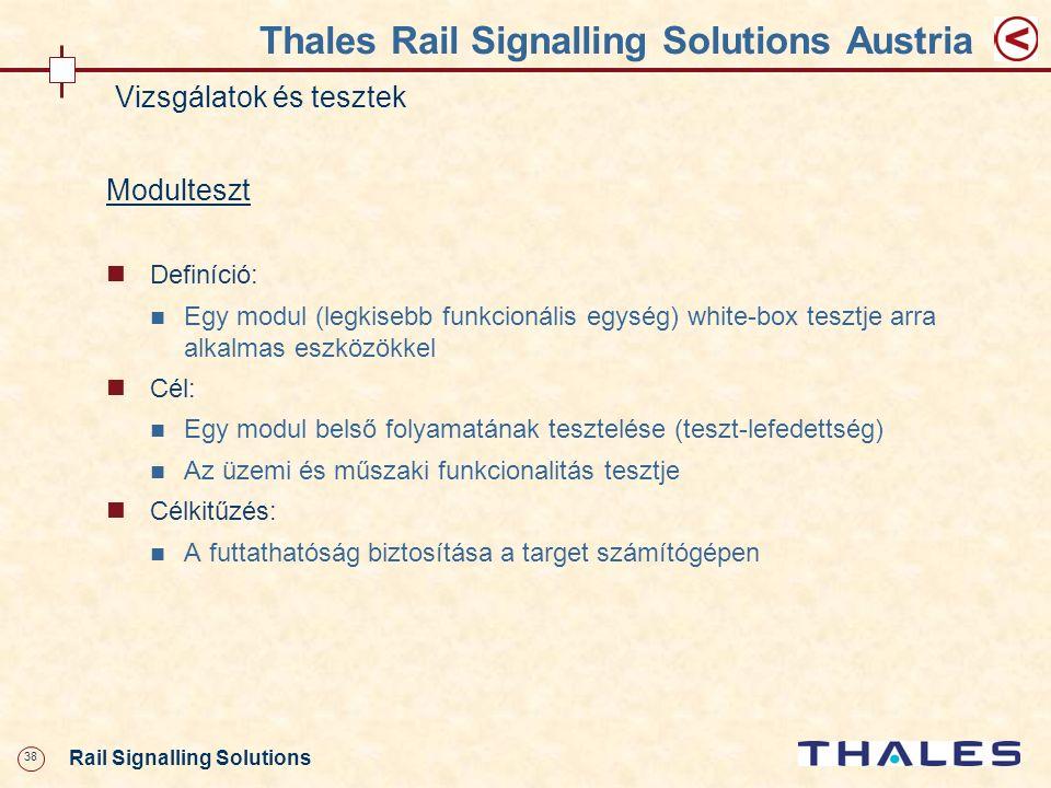 38 Rail Signalling Solutions Thales Rail Signalling Solutions Austria Vizsgálatok és tesztek Modulteszt Definíció: Egy modul (legkisebb funkcionális e