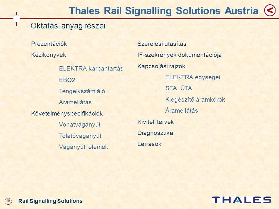 49 Rail Signalling Solutions Thales Rail Signalling Solutions Austria Oktatási anyag részei Prezentációk Kézikönyvek ELEKTRA karbantartás EBO2 Tengely