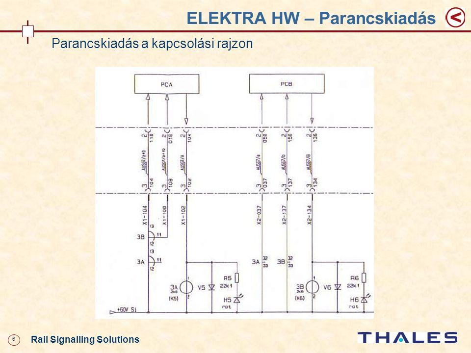 17 Rail Signalling Solutions ELEKTRA HW – Váltóáramkör Váltóáramkör Jelfogók: RA - vezérlés jobbra, A csatorna RB - vezérlés jobbra, B csatorna LA - vezérlés balra, A csatorna LB - vezérlés balra, B csatorna PCA/PCB = ICA/ICB